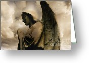Guardian Angel Greeting Cards - Angel Wings Praying - Spiritual Angel Art Greeting Card by Kathy Fornal