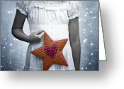 In Love Greeting Cards - Angel With A Star Greeting Card by Joana Kruse