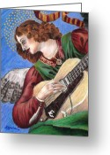 Angel Blues  Drawings Greeting Cards - Angel with Epiphone Greeting Card by Susan Gore Gardner