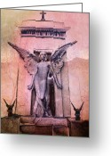 Surreal Gothic Angel Photography Greeting Cards - Angel With Gargoyles  Greeting Card by Kathy Fornal