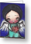 Sacred Greeting Cards - Angel with Heart Greeting Card by  Abril Andrade Griffith