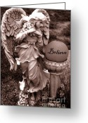 Guardian Angel Greeting Cards - Angel With Inspirational Words Believe Greeting Card by Kathy Fornal