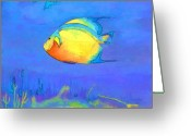 Sea Life Mixed Media Greeting Cards - Angelfish Greeting Card by Arline Wagner