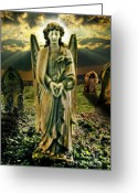Remembrance Greeting Cards - Angelic Light In Color Greeting Card by Meirion Matthias
