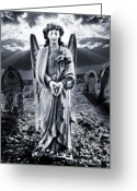 Remembrance Greeting Cards - Angelic Light Greeting Card by Meirion Matthias