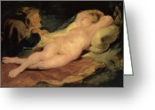 Rubens Painting Greeting Cards - Angelica and the Hermit Greeting Card by Sir Peter Paul Rubens