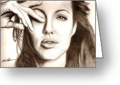 Photorealism Greeting Cards - Angelina Jolie Greeting Card by Michael Mestas