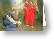 Newborn Greeting Cards - Angels Entertaining the Holy Child Greeting Card by Marianne Stokes