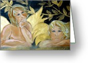Angel Pastels Greeting Cards - Angels Gold Greeting Card by Patty Meotti