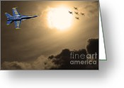 F-18 Greeting Cards - Angels In The Sky . Partial Sepia Greeting Card by Wingsdomain Art and Photography