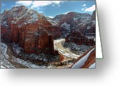 Zion National Park Greeting Cards - Angels Landing View From Top Greeting Card by Daniel Osterkamp