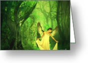 Angel Posters Greeting Cards - Angels Visit Greeting Card by Ester  Rogers