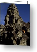 Asian Architecture And Art Greeting Cards - Angkor Wat Temple Complex With Ornate Greeting Card by Paul Chesley