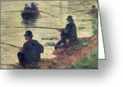 Row Boat Greeting Cards - Anglers Greeting Card by Georges Pierre Seurat