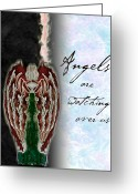 Archangel Greeting Cards - Angles are watching over us Greeting Card by Christopher Gaston