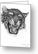 Masterpiece Drawings Greeting Cards - Angry Greeting Card by Peter Kulik