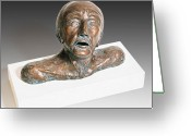 Man Ceramics Greeting Cards - Anguished Man with Broken Nose Greeting Card by Dan Woodard