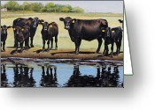 Cattle Greeting Cards - Angus Reflections Greeting Card by Toni Grote
