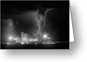 Unusual Lightning Greeting Cards - Anheuser-Busch On Strikes Black and White Greeting Card by James Bo Insogna