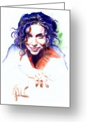 Singer Painting Greeting Cards - Ani DiFranco Greeting Card by Ken Meyer jr