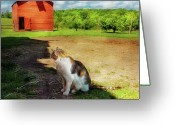 Thank You Greeting Cards - Animal - Cat - The Mouser Greeting Card by Mike Savad