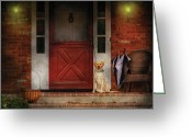 Mutt Greeting Cards - Animal - Dog - Waiting for my Master Greeting Card by Mike Savad