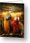 Travel Agent Greeting Cards - Animal - Parrot - Parrot-dise Greeting Card by Mike Savad