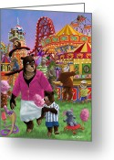 M P Davey Digital Art Greeting Cards - Animal Fun Fair Greeting Card by Martin Davey