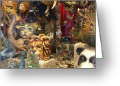 Bizarre Digital Art Greeting Cards - Animal Masks from Venice Greeting Card by Mindy Newman
