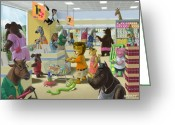 Chimpanzee Greeting Cards - Animal Supermarket Greeting Card by Martin Davey