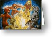 Fire Pastels Greeting Cards - Animal Totem Dancers - Transformed Greeting Card by Samantha Geernaert