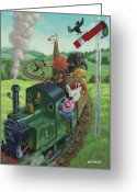Rail Road Greeting Cards - Animal Train Journey Greeting Card by Martin Davey
