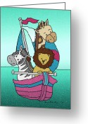 Babys Greeting Cards - Animal Voyage - 25 Greeting Card by Sherry Holder Hunt