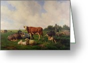 Horns Painting Greeting Cards - Animals Grazing in a Meadow  Greeting Card by Hendrikus van de Sende Baachyssun