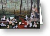 Bichon Greeting Cards - Animals Living In Harmony Greeting Card by Cecilia  Brendel