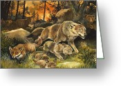 Cubs Painting Greeting Cards - Animals United in Terror as They Flee from a Forest Fire Greeting Card by G W Backhouse