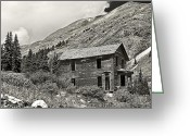 American Landmarks Greeting Cards - Animas Forks in BlackandWhite Greeting Card by Melany Sarafis