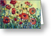 Orange Greeting Cards - Anitas Poppies Greeting Card by Jennifer Lommers
