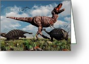 Dinosaurs Greeting Cards - Ankylosaurus Dinosaurs Defend Greeting Card by Mark Stevenson