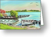 Sunset Prints Pastels Greeting Cards - AnnadownPier on Lough Corrib Greeting Card by Vanda Luddy