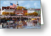 Stars And Stripes.   Greeting Cards - Annapolis Greeting Card by Guido Borelli