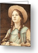 Children Pyrography Greeting Cards - Anne of Green Cables Greeting Card by Cate McCauley