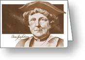 Jump Drawings Greeting Cards - Annie Jump Cannon Greeting Card by John D Benson