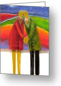 Couples Mixed Media Greeting Cards - Anniversary Dance Greeting Card by Anne Nye