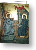 Icon Byzantine Greeting Cards - Annunciation Greeting Card by Filip Mihail