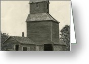 Old Barns Greeting Cards - Anoka Elevator Greeting Card by Bryan Baumeister