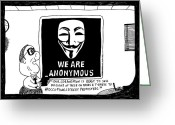Occupy Greeting Cards - Anonymous Business cartoon Greeting Card by Yasha Harari