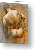 Nude Mixed Media Greeting Cards - Anonymous II Greeting Card by Chris  Lopez