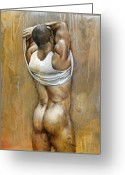Nude Mixed Media Greeting Cards - Anonymous III Greeting Card by Chris  Lopez
