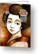 Maiko Greeting Cards - Another Time Greeting Card by Rachel Walker
